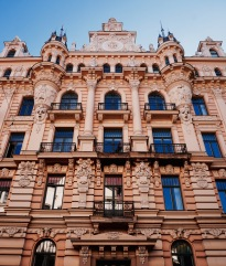 Art Nouveau buildings. Riga, Latvia. August 2015.
