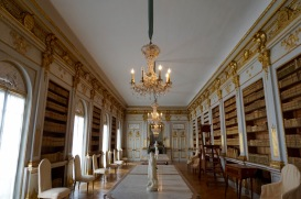 The library in the royal palace Drottningholm, an UNESCO World Heritage site. Stockholm, Sweden. August 2015.